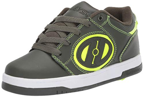 Heelys Boys' Voyager Tennis Shoe, Forest Green/Bright Yellow, 2 M US Big Kid