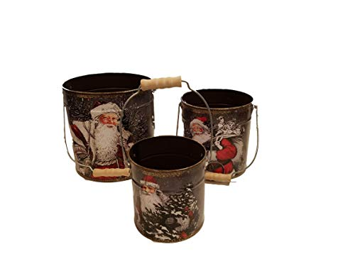 Gerson Holiday Metal Santa Design Buckets - Set of 3 (Metal Sale For Small Buckets)