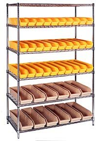 Gray Stacking Storage Cabinet (Quantum Storage Systems, Wire Shelving With Stacking Bins- 24 X 48 X 74 Shelving Size, Wr235, Shelving Size: 24 X 48 X 74, Bin Description L X W X H: (40) 11 X 11 X 5, Color: Gray, Wr235)