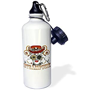 "3dRose ""Looking Steampunked Steampunk Collage Art"" Sports Water Bottle, 21 oz, White"