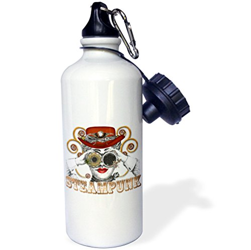 """3dRose wb_102669_1″Looking Steampunked Steampunk Collage Art"""" Sports Water Bottle, 21 oz, White"""