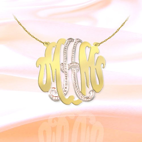 Monogram Necklace 1 1/2 inch Two Tone Sterling Silver and 24K Gold Plated Handcrafted Personalized Cutout Initial Necklace - Made in ()