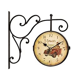 Adeco CK0076 Wrought Iron Rustic Vintage-Inspired Train Railway Station Style Round Double Side Two Faces Wall Hanging Clock with Scroll Wall Side Mount, Red Antique Car Home Decor, Beige, Black, Brown