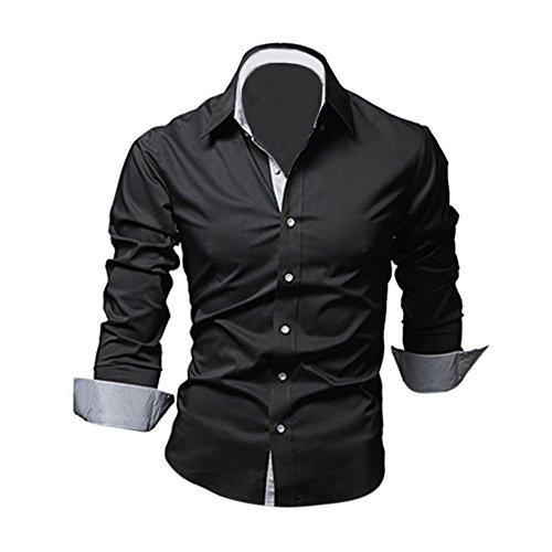 SODIAL(R) Mode Hommes Luxe Manche Longue Casual Mince Fit Tenu Elegante Chemises Noir XXXL