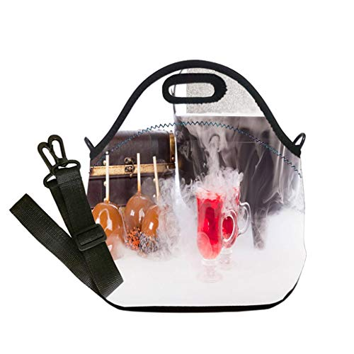 Custom Digital Printing Insulated Lunch Bag,Neoprene Lunch Tote Bags Boiling and Bubbling Halloween Punch with Caramel Apples Multicolor,for Adults and children waterproof Lunch Box -