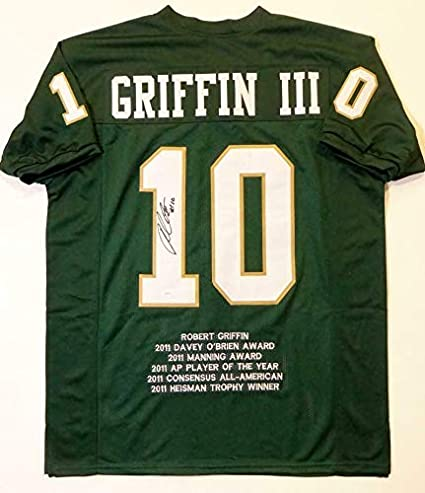 free shipping 95a99 8ff31 Autographed Robert Griffin III Jersey - Green College Style ...