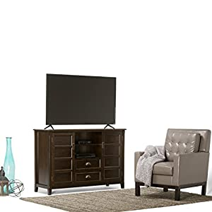 Simpli Home Burlington Solid Wood TV Media Stand for TVs up to 60 Inch, Espresso Brown