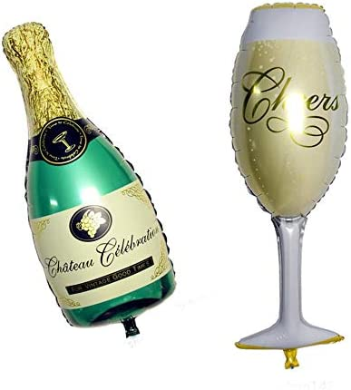 Shemiqi - Botella de champán con Globos de Aluminio, Color Verde ...
