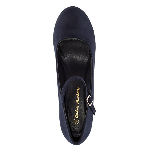 Andres Machado AM5201.Mary Jane Stilettos In Suede.Petite&Large Sizes: UK 0.5 To 2.5/EU 32 To 35 - UK 8 To 10.5/EU 42 To 45. Navy Suede KEenlDd