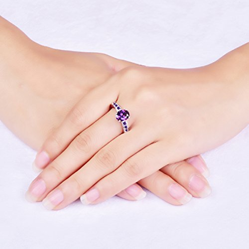Veunora Womens 925 Sterling Silver Created 7x9mm Amethyst Filled Promise Wedding Ring