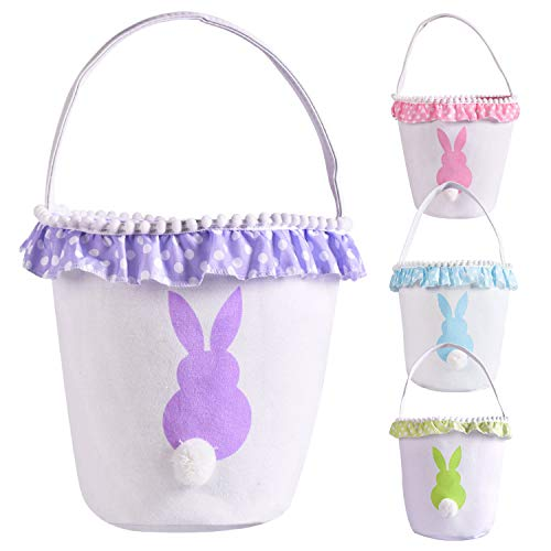 Girls Easter Baskets (Easter Bunny Basket Eggs Bags with Fluffy Tail Purple Canvas Cotton Rabbit Personalized Handbag Toys Bucket Tote Bag Storage Gifts Candies for Kids Girls with Handles)
