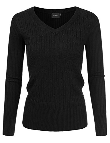 NINEXIS Womens Long Sleeve V-Neck Twisted Knit Sweater BLACK S