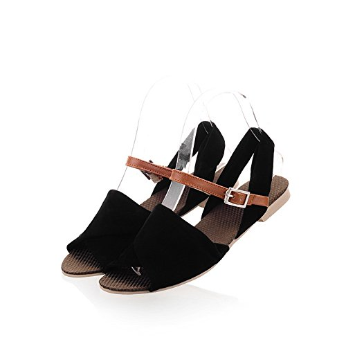VogueZone009 Mujeres suave Sandalias Open Toes sólidas Negro Peep Material PU qUwqBRxp