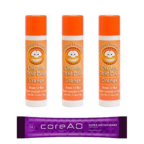 Merry Hempsters Lip Bundle | Variety Pack of Organic Hemp Lip Balms | Plus Bonus Antioxidant Drink Mix (Orange, 3 Pack)