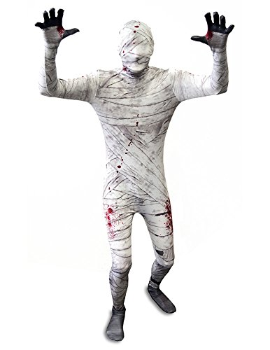 SecondSkin Men's Full Body Spandex/Lycra Suit, Mummy, Kids L - Mummy Costumes