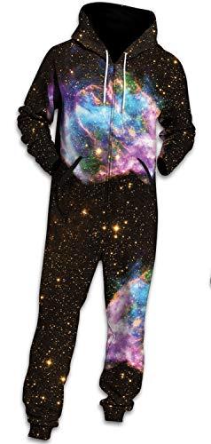 Bodycon4U Unisex Halloween Christmas Costume Galaxy Onesie Pajamas Set Hoodie Jumpsuit with Hood L