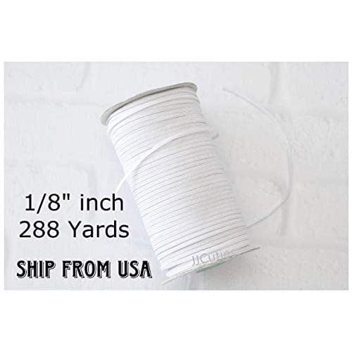 288 Yards 18 inch BULK Wholesale 18 WHITE Flat Braided ELASTIC