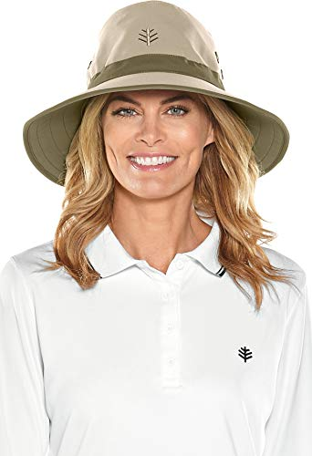 Coolibar UPF 50+ Men's Women's Matchplay Golf Hat - Sun Protective (XX-Large- Tan/Khaki) ()