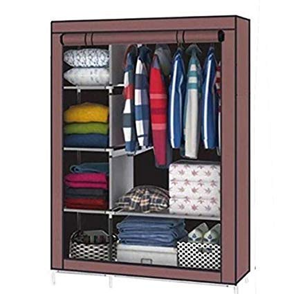 Aventure Iron Portable Foldable Closet Multipurpose Wardrobe with Shelves, 4.1ft, Beige