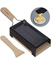 Cheese Raclette w Foldable Handle- Candlelight Cheese Melter Pan w Spatula and Candles- Melts in Under 4 Minutes