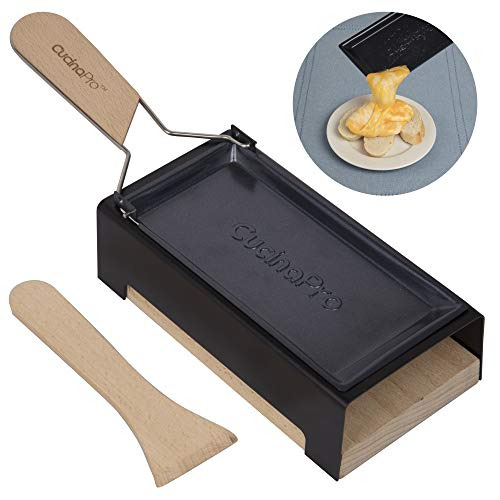 (Cheese Raclette w Foldable Handle- Candlelight Cheese Melter Pan w Spatula and Candles- Melts in Under 4 Minutes- Great Valentines Day Gift)