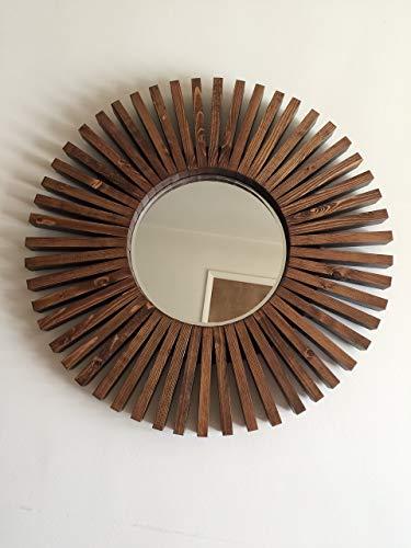 Sunburst Round Wall Mirror Handmade Special Walnut Wood Frame 26