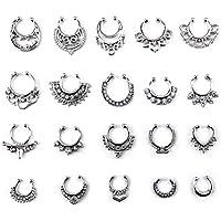 HONBAY 20pcs Fake Septum Clicker Nose Ring Rhinestone Non Piercing Hanger Clip Body Jewelry (Silver)