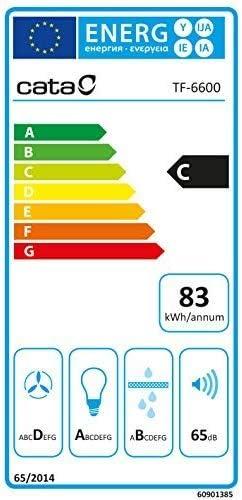 Cata | Campana extractora telescópica | Modelo: TF 2003 GBK | campana de cocina con 2 niveles de extracción | Panel de control mecánico | Acabado en cristal negro | Clase de eficiencia energética:: Amazon.es: Grandes electrodomésticos