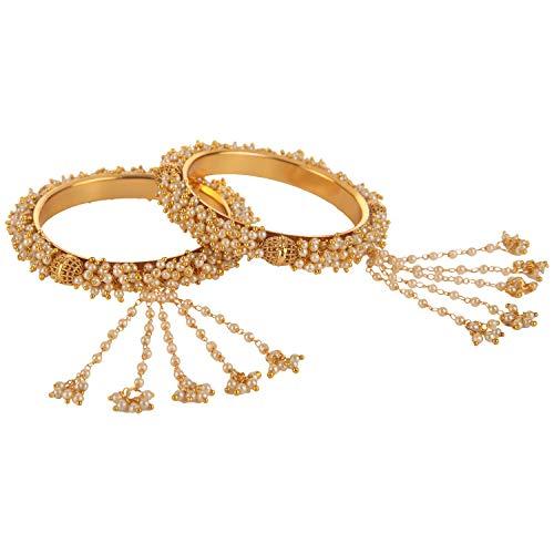 Efulgenz Fashion Jewelry Indian Bollywood 14 K Gold Plated Faux Pearl Bead Bracelet Bridal Tassel Bangle Set (2 -
