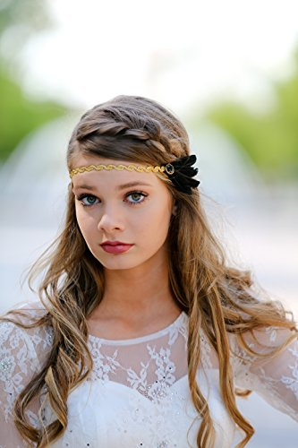 Embellished Feather - Black Gold Flapper Boho Feather Embellished Gatsby Bridal Hair Accessory Glam Headband