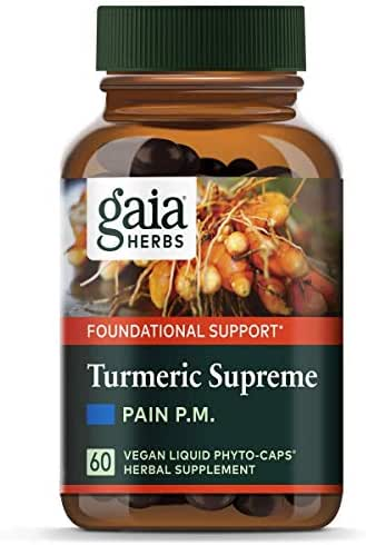 Gaia Herbs Turmeric Supreme Pain P.M., Vegan Liquid Capsules, 60 Count - Turmeric Curcumin Supplement, Promotes Relaxing Sleep & Healthy Pain Response, Kava & Valerian