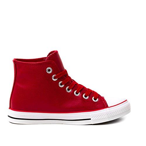 Marimo Klassische Unisex Damen Herren Schuhe High Top Sneaker Turnschuhe in Lederoptik Rot