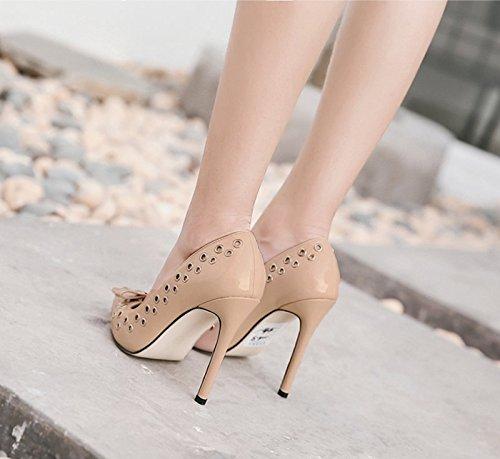 KHSKX-Aprikosen 8.5Cm Schuhe Frauen High Heels Mit Nieten Fallen Sagte Asakuchi Schuhe Thirty-eight