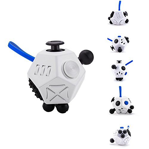 Fidget Dice II 12 Sides Anti-anxiety and Depression Toys for Children and Adults (White) -