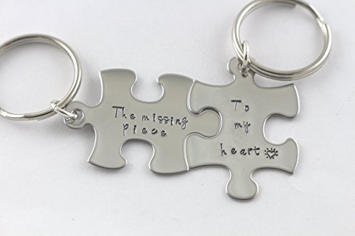 Puzzle Piece Keychains - Anniversary or Wedding Gift - Keyring - Key Chain - Key Ring - Gift for Bride Groom