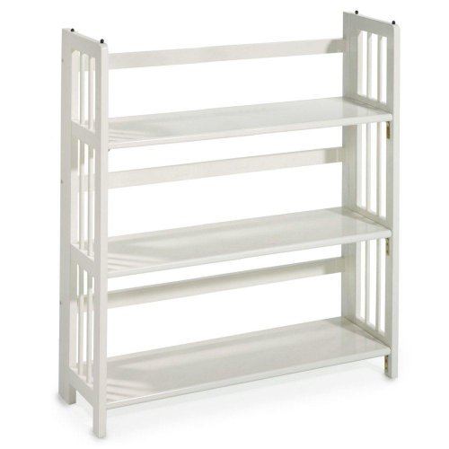 Mission Style 38 x 35 Inch White Folding / Stacking Bookcase, 35