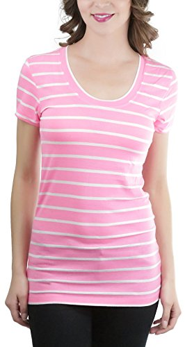 Pink Striped Shirt (ToBeInStyle Women's Striped S.S. Scoop Neck Tee - N Pink/White - Large)