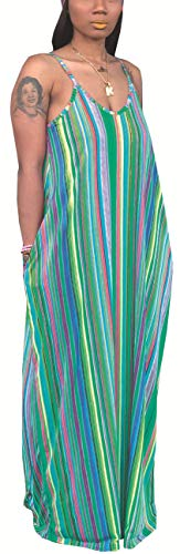 (Women's Casual Spaghetti Strap Loose Comfy Plus Size Floor Length Dresses Sexy Sleeveless Scoop Neck Colorful Pinstripe Stretchy Long Maxi Maternity Sundress with Pockets)