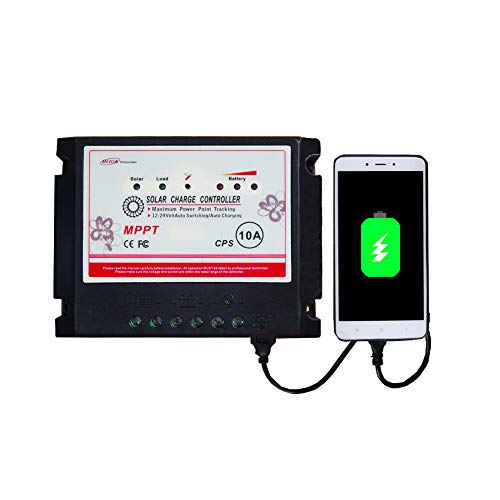(APINEE 10A MPPT 12V/24V Solar Charge Controller Fully Automatic Operation with USB port Eco-worthy )