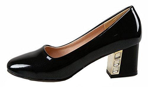 Amoonyfashion Mujer's Charol Sólido Cerrado-toe Kitten-heels Pumps-Zapatos Negro
