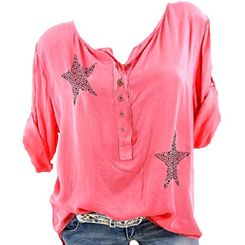Red Coral Long Drill - Wobuoke Women Button 3/4 Sleeve Five-Pointed Star Hot Drill Plus Size Tops Blouse Shirt