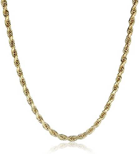 Men's 14k Solid Yellow Gold 4mm Wide Diamond-Cut Rope Chain Necklace