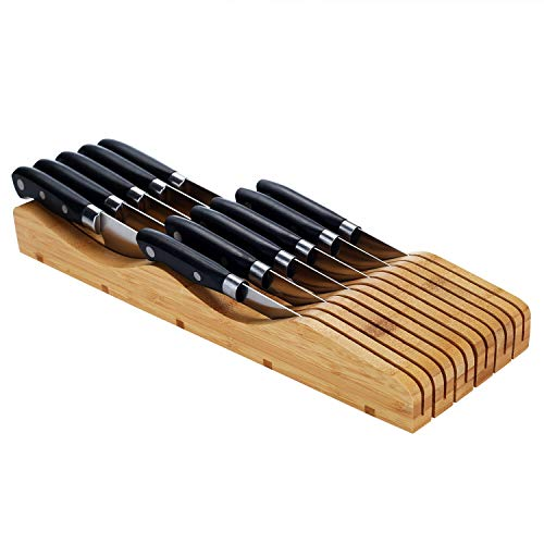 - Utoplike In-Drawer Bamboo Knife Block Knife Drawer Storage and Organizer fits to 11-15 Knives of Varing Sizes ...