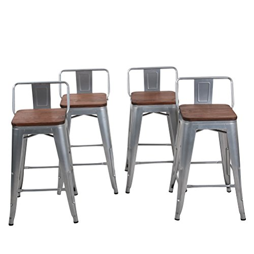 Changjie Furniture 26 Inch Low Back Industrial Metal Bar Stool Kitchen Counter Bar Stools Set of 4 (26 inch, Low Back Silver with Wooden Top) ...