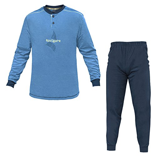 140744 Colori Serafino 3 Bluette Jersey Pigiama Art Uomo Navigare Cotone w8TpX6