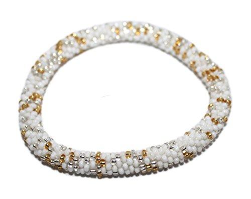 Crochet Bracelet Glass Seed Bead Bracelet Roll on Bracelet Nepal Bracelet SB372