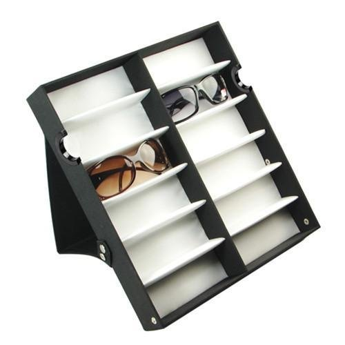 """Ikee Design Small/Medium 12 Compartment Eyewear Shades Case Organizer Box for Eyeglasses, Sunglasses, Watches, Jewelry with Cover Lid, 12 3/4''W x 14 1/4''D x 2 1/4""""H"""