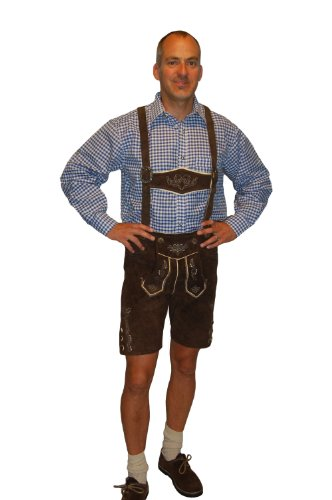 Lederhosen Costume Authentic Oktoberfest Lederhosen GEORG -34 - Dark Brown (Lederhosen Fancy Dress Costumes)