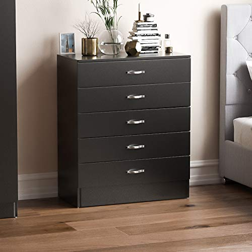 Vida Designs Black Chest of Drawers, 5 Drawer With Metal Handles and Runners, Unique Anti-Bowing Drawer Support, Riano…