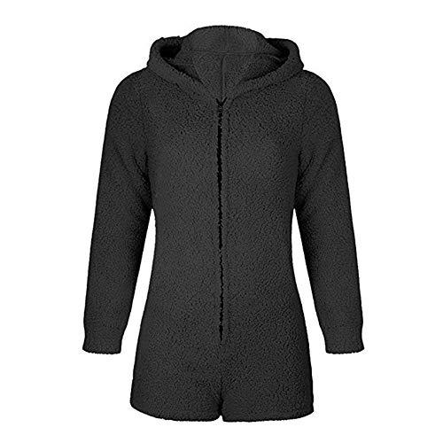 Okvpajdo Women Sherpa Fleece Pajama Suit Hooded Cute Bear Ears Long Sleeve Zipper Short Jumpsuit Sleepwear Romper Black